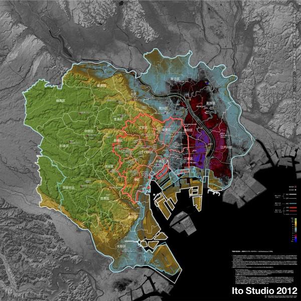 共同スタディ成果1(区界の変遷および区役所の立地変化を1:50000陰影段彩図上に表したもの 841mm×841mm